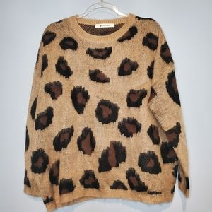 Impeccable Pig Leopard print sweater one size